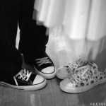 Expressive shoes during a wedding reception.
