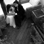Mark and Ploy enjoy their terrace during a pre-wedding shoot in Boston, MA.