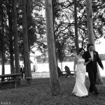 A couple walks through the private grove of trees within the Halcyon estate in Easton, MD.
