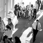 A server walks through a wedding reception at Springstep in Medford, MA.