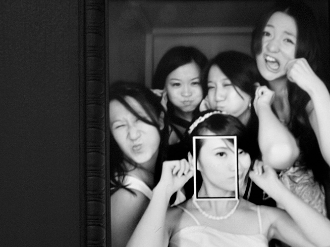Bridesmaids make faces in Rock Star wedding photobooth in Pasadena, California.