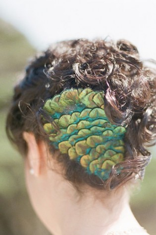 peacock wedding hair fastener