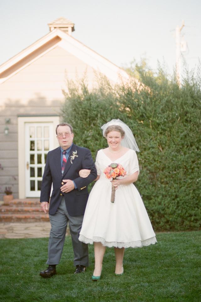 bride in cayucos ca walking down aisle