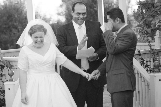 Fredy goes in early for the kiss only to be stopped by the officiant...
